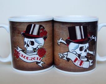 MR & MRS mugs pair skull tattoo His and Hers Wedding gift for married couple customised date banner wedding personalised wedding gift