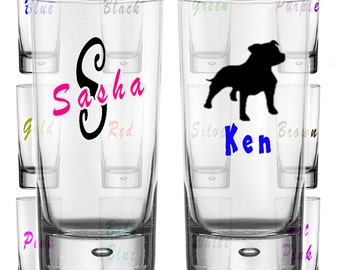 Personalised Glass Hi Ball Tumbler. Name, Initial, Icon Image. 2 Colour Decal.
