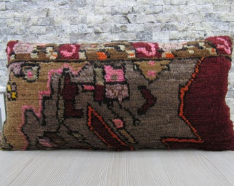 floor cushion 12 x 24 organic wool decorative pillow bohemian pillow turkish pillow floor pillow kelim cushion aztec pillow couch pillow