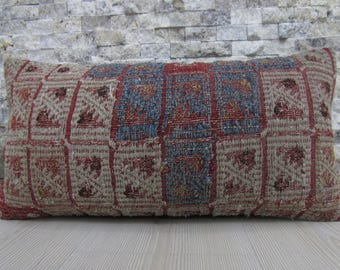 Handwoven Vintage Kilim Rug Kilim Pillow 10x20 Organic Bedding Pillow Natural Dyed Floor Cushion Ethnic Pillow 10x20 Handmade Kilim Pillow