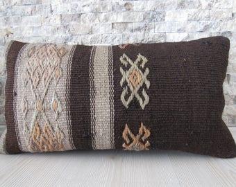 small size lumbar pillow 10x20 kilim pillow pale color handwoven vintage turkish pillow handmade pillow decorative bohemian pillow