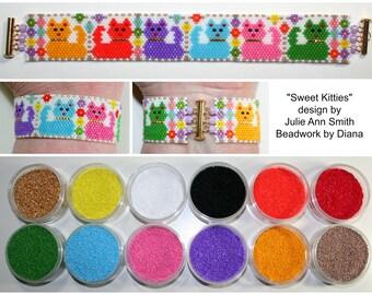 Sweet Kitties by Julie Ann Smith Designs beaded bracelet kit (pattern sold separately)