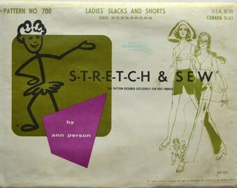 Uncut 1960s Stretch and Sew Vintage Sewing Pattern 700; Size 30-46; Ladies' Slacks and Shorts