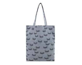 Cotton Tote bag - Denim bag - Dragonfly Butterfly - Ladies Casual bag - fabric Market bag - Zip pocket bag- Woman bag- Shoulder bag- Girl B