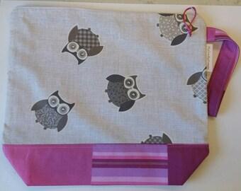 """Knitting or Crochet Project Bag """"Howly"""", 2-3 skeins size  - Borsa portalavoro a maglia o uncinetto, taglia medio grande"""