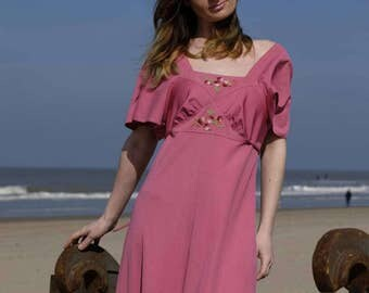 LA BOHEME ROSE Vintage 70's Bohemian Long Dress Pink Embroidered Butterfly Sleeves Maxi Dress Made in Paris