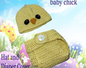 Baby chick hat and diaper cover