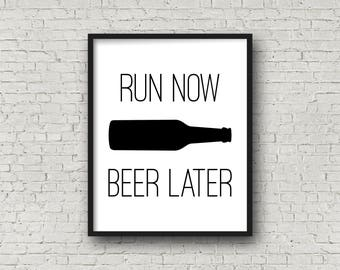 Run Now Beer Later, Motivational Quotes, Fitness Motivation, Inspirational Wall Art, Fitness, Beer Gifts, Funny Motivation, Beer, Typography