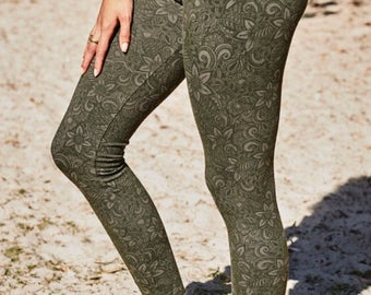 Green yoga leggings gym leggings flower leggings tribal leggings dance festival tights