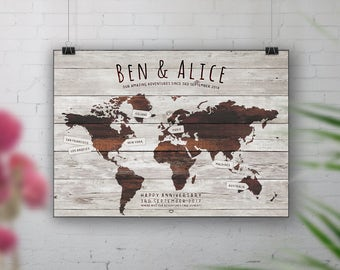 Wood World Map Print, Travel Bucket List, Personalised Travel Map, 1st Wedding Anniversary Gift, 40th Birthday, Places We've Been, Wall Art