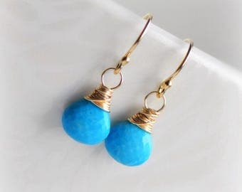 Turquoise Earrings, Tiny Turquoise Dangle Earrings, Gold Silver Turquoise Earrings, Gift for Her, December Birthstone Earrings Blissaria