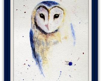 Animal Painting - original watercolour - Owl - Barn Owl - Size 30x40 cm