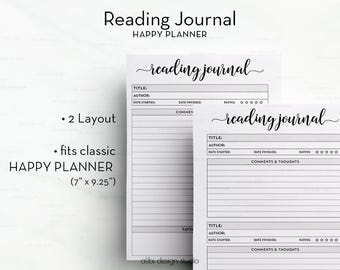 Reading Journal, Happy Planner, Books Printable, Reading Log, Reading List,  Planner Printable, Book Planner, MAMBI, Reading Tracker