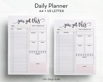 Daily Planner Printable • A4 + Letter •  Daily Schedule • A4 Binder • Daily Organizer • Daily To Do List • Meal Planner • Daily Organizer