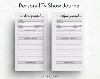 Tv Show • Personal Planner Inserts • Tv Show Journal • TV Show Tracker • Tv Show Manager • Personal Printable • Tv Shows Organizer Personal