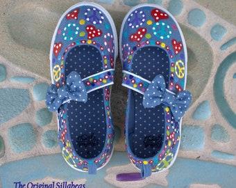 Girls Mary Jane Denim Sneakers/Girls Peace Sign Sneakers /Hearts and Peace Signs Painted Sneakers/Custom Girls Shoes/Peace and Love/OOAK