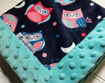 Baby Lovey Blanket- Owls with Aqua Minky-  Security Blanket- Mini Blanket- Minky and Minky-19x19