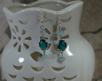 """Elegant miracle"" green earrings"