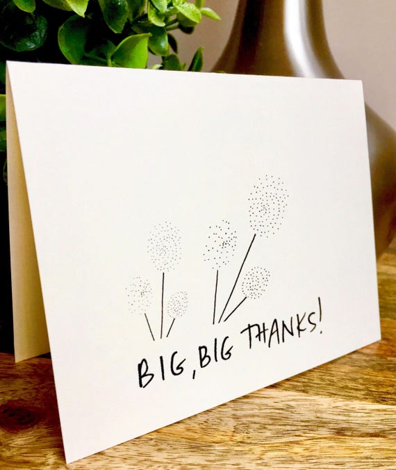 Enthusiastic Thank you card, thank you card set unique style, simple thank you card, handlettered stationery, big big thanks, big thank you