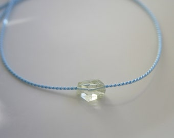 Natural beauty minimalistic aquamarine necklace silk cord