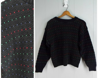 Vintage Womens 1980s Chunky Black Sweater with Rainbow Dots | Size M
