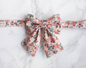 Bow Collar | Rifle Paper Co Les Fleurs Pastel Pink | Dog & Cat