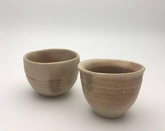 Handmade stoneware ceramics Japanese sake cups(set of two)