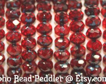 Czech Rondells 7x5mm, 25 Beads