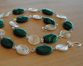 Silver Spiral and Malachite Necklace