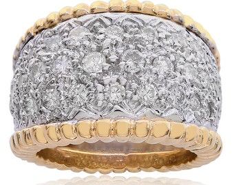 1.50 Carat Diamond Round Cut Milgrain Wide Ring 14K Two Tone Gold