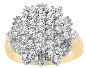 2.00 Carat Diamond Snowflake Cluster Pyramid Ring 14K Two Tone Gold