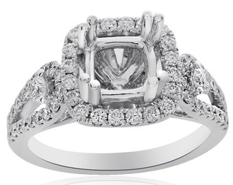 0.98 Carat Diamond Engagement Ring 14K White Gold Setting