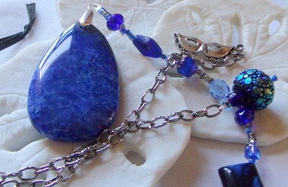 teardrop navy peony  sun catcher - agate pendant - blue gemstone -  mask - dragonfly-  moon charms - dorm room - rear view mirror - student