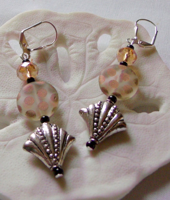 copper dot glass earrings -- frosted disk - silver fan bead - neutral look - peach long crystal earrings -  abstract - LizPoriginals
