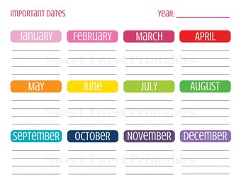 Important Dates Planner, Planner Printables, Planner Page, Dates To Remember, Special Dates Calendar, Birthday Printables, Instant Download