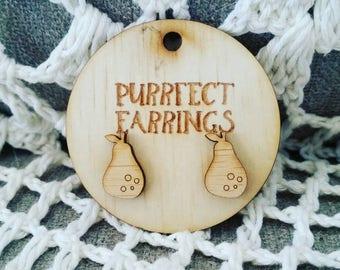 Wooden bamboo pear earrings
