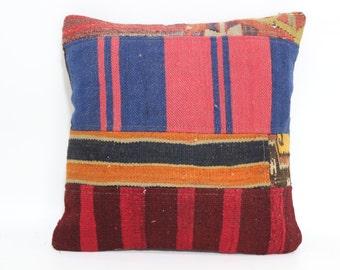 Patchwork Kilim Pillow Kilim Pillow 18x18 Cotton Kilim Rugs Cushion Cover Throw Pillow Turkish Pillow Handwoven Pillow SP4545-1133