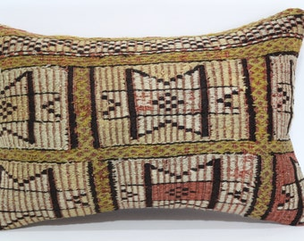 Embroidered Kilim Pillow Ethnic Pillow Handwoven Kilim Pillow 16x24 Bohemian Kilim Pillow Sofa Pillow Cushion Cover SP4060-400