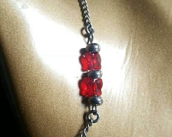 """Red Butterfly"" stainless steel bracelet and swarovski"