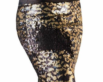 Cheetah/Black color changing sequin pencil skirt
