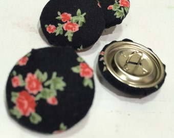 Fabric covered buttons 22mm x 4 Black floral