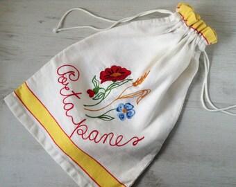 Italian cotto bread bag vintage floral decoration