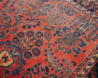 11.5 x 8.6 ft Sarouk antique persian rug - 350 x 263 cm Sarough Mohajeran Carpet 12 x 9 ft