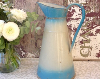 French vintage enamel water pitcher, broc, jug, French enamelware, blue two-tone enamelware jug, 1930s, French countryside