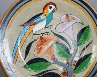 ON SALE NOW Mexican Folk Art Pottery Hand Painted Bird Plate Jimom Mexico