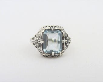 Vintage Sterling Silver Aquamarine Flower Filigree Ring Size 7