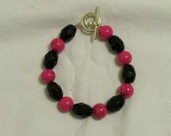 Hot Pink and Black Bracelet