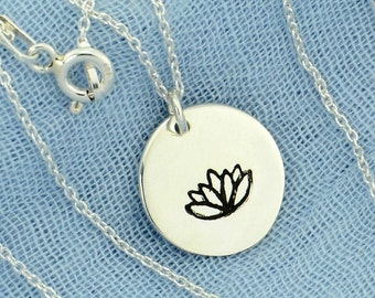 Lotus Flower Hand Stamped 925 Sterling Silver Disc Pendant Charm Yoga Necklace Chain