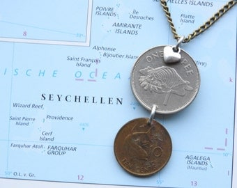 Seychelles double coin necklace/keychain - fish and shell - made of original coins from the Seychelles
