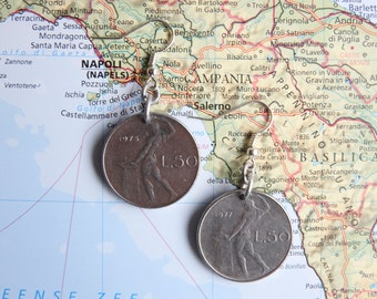 Italian coin earrings - 5 different designs - made of coins from Italy